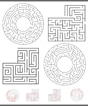 Maze leisure game graphics set with lines