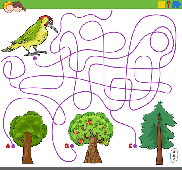 Maze lines game with woodpecker and trees