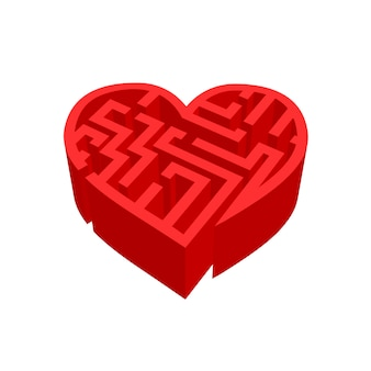 Maze of love red labyrinth isolated