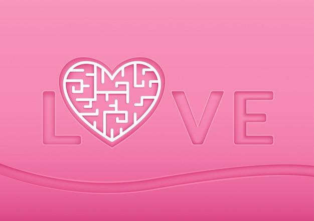 Лабиринт любви для дня святого валентина.