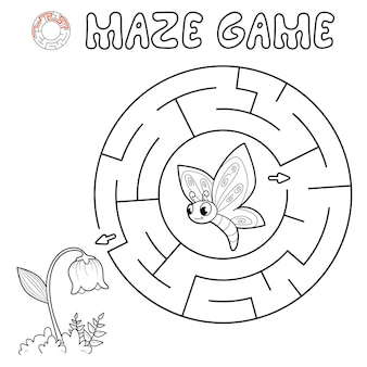 Maze puzzle game for children. outline circle maze or labyrinth game with butterfly and flower.