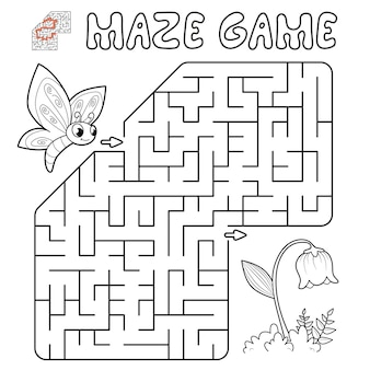 Maze puzzle game for children. outline maze or labyrinth game with butterfly and flower. illustrations