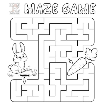 Maze puzzle game for children. outline maze or labyrinth game with rabbit. illustrations