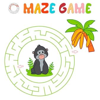 Лабиринт-головоломка для детей. круговой лабиринт или игра-лабиринт с гориллой. обезьяна и бананы