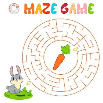 Лабиринт-головоломка для детей. круглый лабиринт или игра-лабиринт с кроликом.
