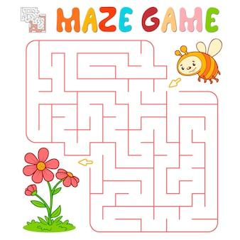 Лабиринт-головоломка для детей. лабиринт или игра лабиринт с пчелой. векторные иллюстрации