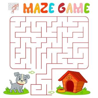 Лабиринт-головоломка для детей. лабиринт или игра лабиринта с собакой. векторные иллюстрации