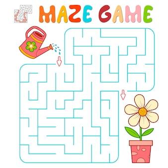 Лабиринт-головоломка для детей. лабиринт или игра лабиринт с цветком. векторные иллюстрации