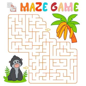 Лабиринт-головоломка для детей. лабиринт или игра лабиринта с гориллой. обезьяна и бананы векторные иллюстрации