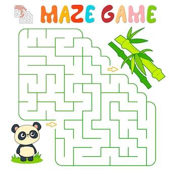 Лабиринт-головоломка для детей. лабиринт или игра лабиринт с пандой. векторные иллюстрации