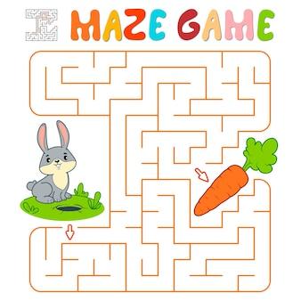 Лабиринт-головоломка для детей. лабиринт или игра лабиринт с кроликом. векторные иллюстрации
