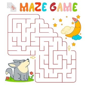 Лабиринт-головоломка для детей. лабиринт или игра лабиринта с волком. векторные иллюстрации