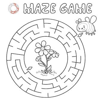 Лабиринт-головоломка для детей. обрисуйте круг лабиринта или лабиринт игры с пчелой. векторные иллюстрации