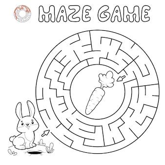 子供のための迷路パズルゲーム。ウサギと一緒にサークル迷路や迷路ゲームの概要を説明します。ベクトルイラスト
