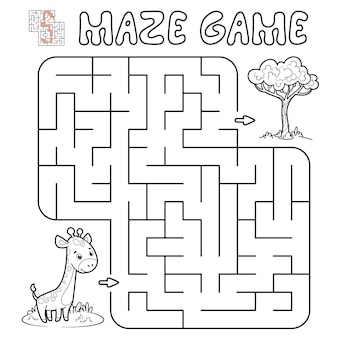 어린이를위한 미로 퍼즐 게임. 기린과 미로 또는 미로 게임 개요. 삽화