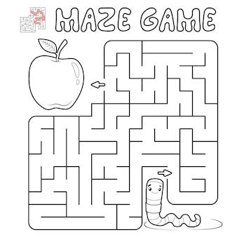 子供のための迷路パズルゲーム。ワームを使った迷路や迷路ゲームの概要を説明します。イラスト