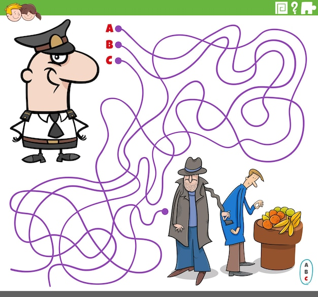 Maze puzzle game with cartoon policeman character and thief