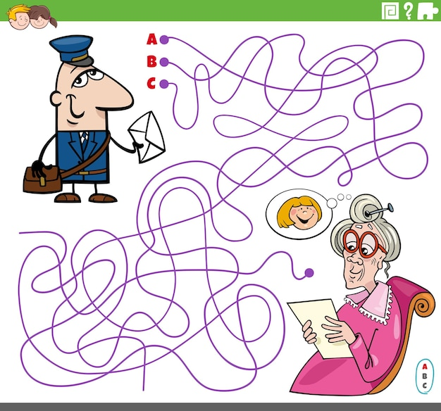 Maze puzzle game with cartoon postman character and senior woman