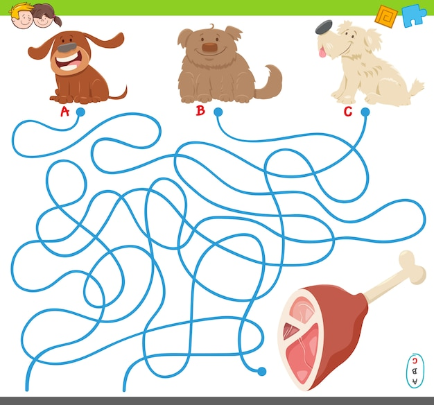 Maze puzzle game with dogs and meat