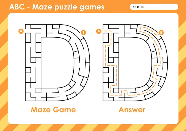 Maze puzzle games - alphabet a to z fun game set for kids letter : d
