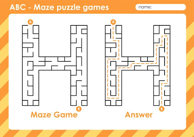 Maze puzzle games - alphabet a to z fun game set for kids letter : h