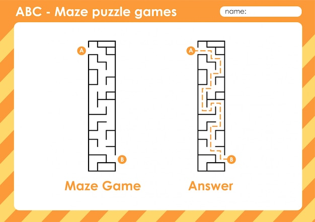 Maze puzzle games - alphabet a to z fun game set for kids letter : i