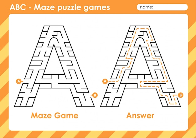 Maze puzzle games - alphabet a to z fun game set for kids letter : a
