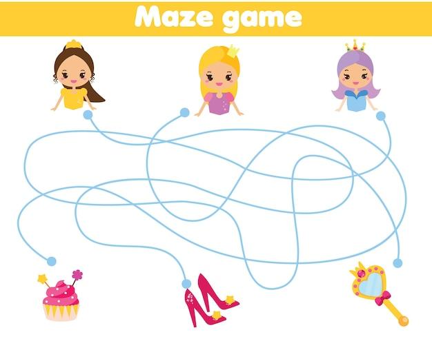 迷路パズル。王女が物を見つけるのを手伝ってください。と子供のための活動。教育的な子供向けゲーム