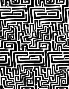 迷路のシームレスなパターン。さまざまなブラシストロークで手描きのテクスチャ。落書きベクトルの背景。