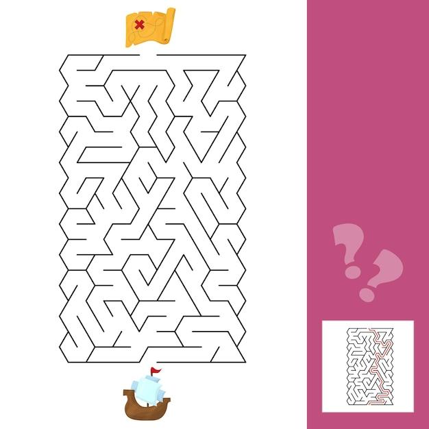 미로. 배 - 아이들의 게임 미로. 답이 있는 아이 퍼즐. 벡터 일러스트 레이 션