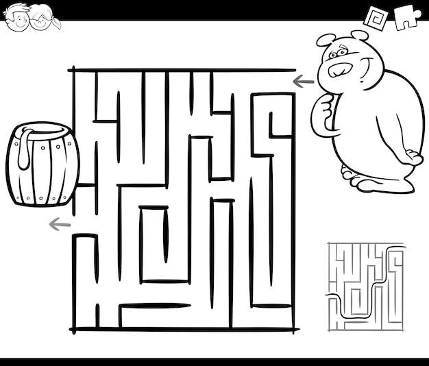 Maze with bear coloring page