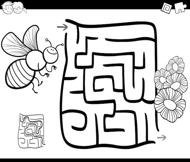 Maze with bee coloring page