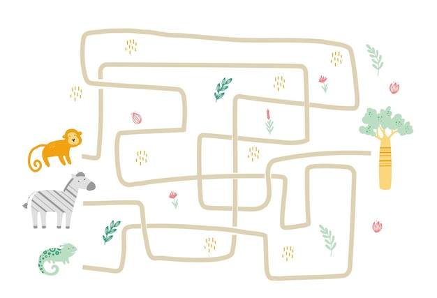 Maze with cute african animal for children. kids labyrinth game. mind activities illustration.