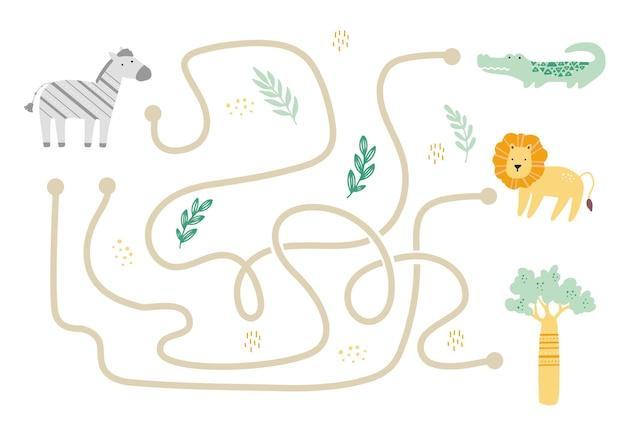 어린이를위한 귀여운 아프리카 동물과 미로. 어린이 미로 게임. 마음 활동 그림.