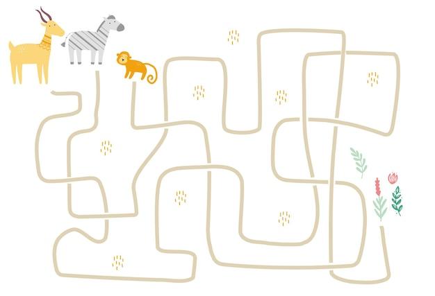 Лабиринт с милым африканским животным для детей. детский лабиринт. иллюстрация умственной деятельности.