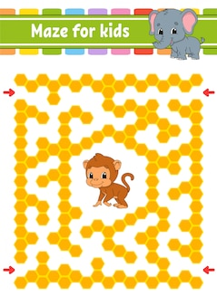 Maze with monkey and elephant
