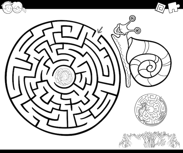 Maze with snail for coloring
