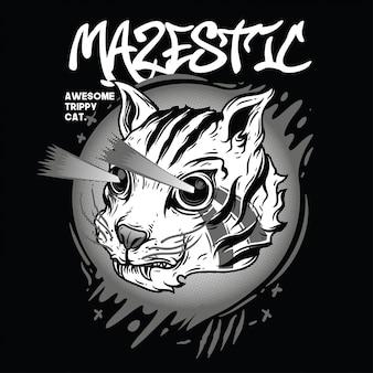 Mazestic черно-белая иллюстрация