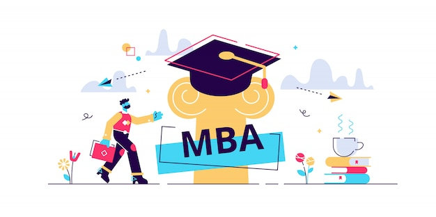Mba illustration. flat tiny master of business administration person concept. education management strategy for student knowledge growth. graduation hat as academical learning and wisdom symbol