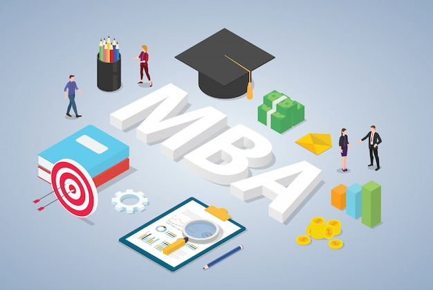 Mba master of business administration concept education and team people with isometric modern style Premium Vector