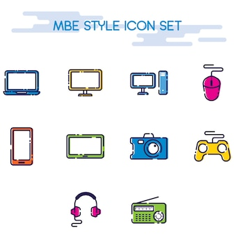 Mbe style electronic device icon set colections