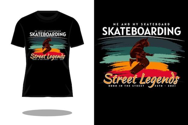 Me and my skateboard silhouette retro t shirt design