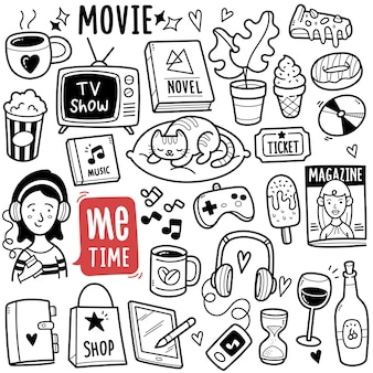 Me time entertainment black and white doodle illustration