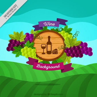 Meadow background with wine badge