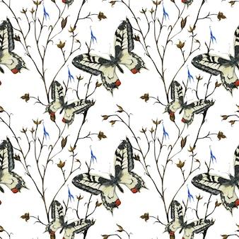 牧草地の蝶のシームレスパターン
