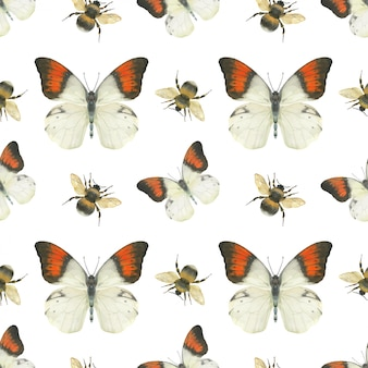 Meadow butterfly seamless pattern