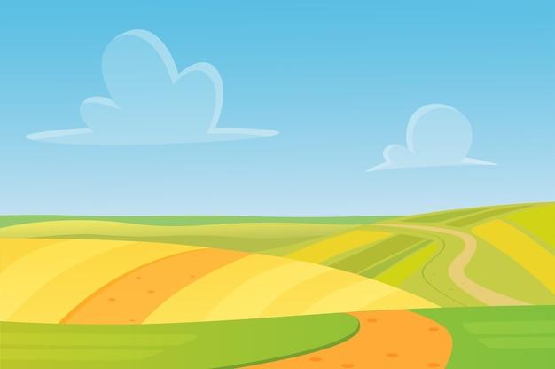 Луговой мультяшный пейзаж с отличным дизайном для любых целей