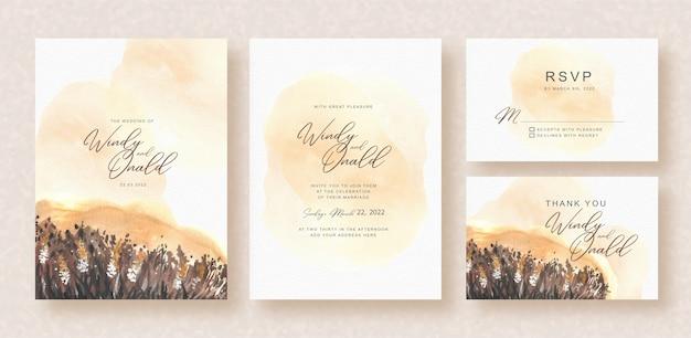結婚式の招待状に牧草地の花の夜の水彩画
