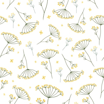 Meadow flowers seamless pattern with summer plants