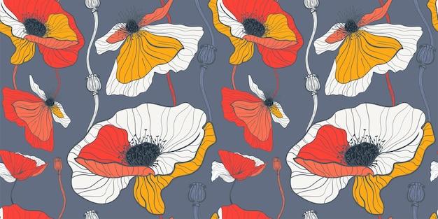 여름 야생화를 위한 초원. 어두운 회색 배경에 흰색과 빨간색 양귀비와 원활한 패턴